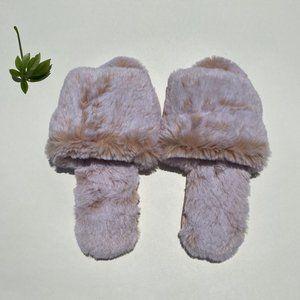 DISPLAY Lemon Faux Fur Slide Slipper Pink L